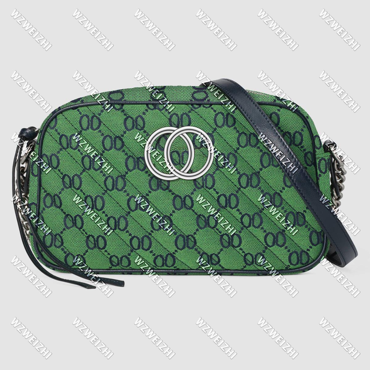 Bayan Soho Disko Çantası Işık Marmont Renkli Küçük Tuval Omuz Çantaları Çanta Bayan Gümüş Zincir Crossbody Messenger Çanta Cüzdan Yeşil 24 cm