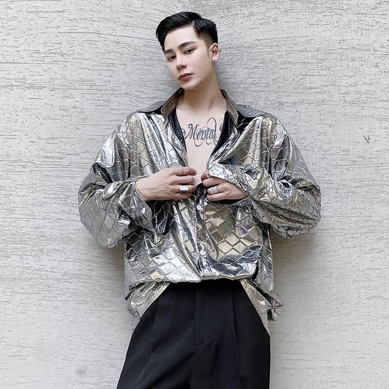 가을 셔츠 얇은 패션 럭셔리 섹시한 남자 스트라이프 샤이니 스트리트웨어 chemise 옴므 의류 eg50sh 남자 캐주얼 셔츠