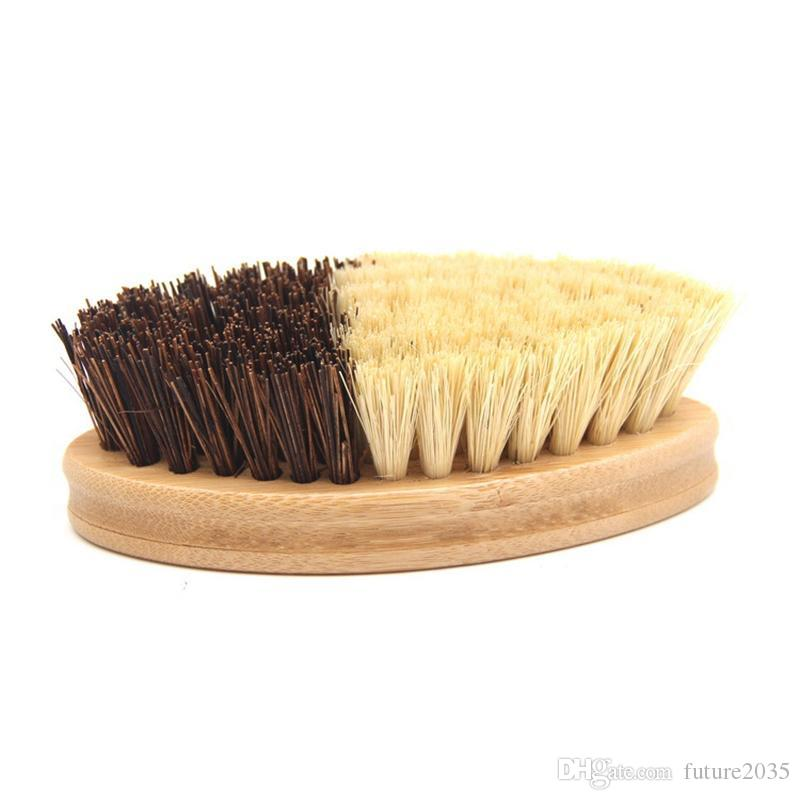 Kitchen Wooden Cleaning Brush Environmentally Friendly Bamboo And Sisal Coarse Brown Plate Brushes For Vegetables Fruits Pots Bowls