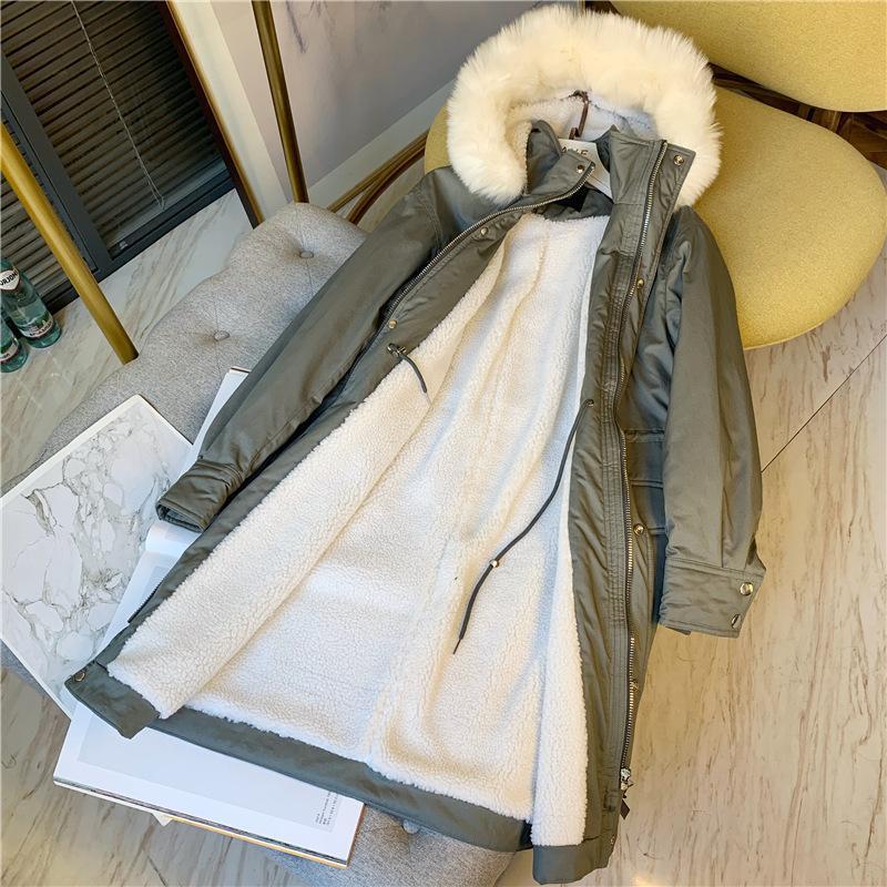 후드 코튼 재킷 여성 의류 2021 Autunmn 느슨한 롱 코트 여성 큰 모피 칼라 따뜻한 두꺼운 봉제 자켓 겨울 파카 여성의 아래로