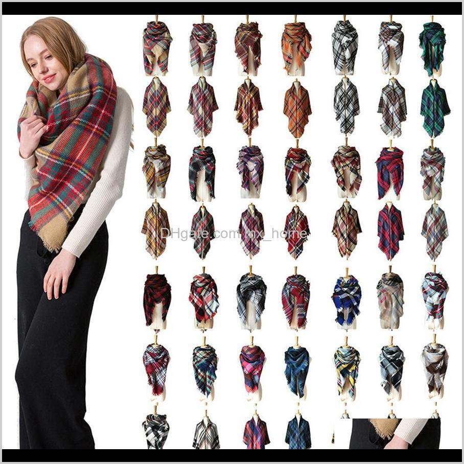 Party Favor Winter Triangle Tartan Cashmere Women Plaid Blanket Scarf Designer Acrylic Basic Shawls Womens Scarves Wraps Gifts Coapt Zqkjm