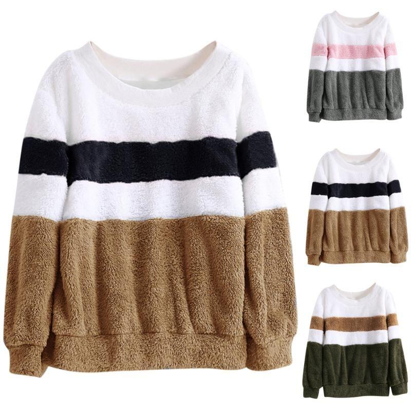 Hoodies das mulheres camisolas para mulheres listras de inverno bloco de cor pulôvers s-5xl fêmea o-pescoço de manga longa lã de lã mais tamanho