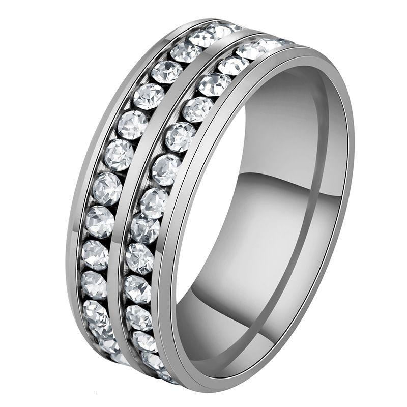 상감 된 반지 티타늄 강철 다이아몬드 더블 행 다이아몬드 남성 성격 보석 스테인리스 8m
