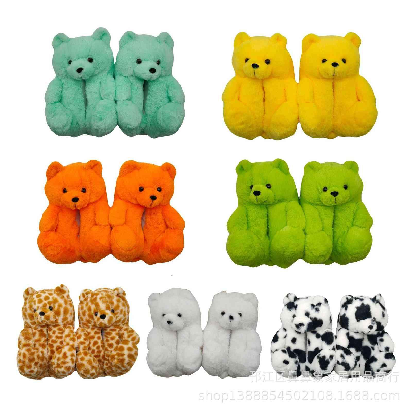 Chaussures de coton d'ours colorés Chaussures en peluche Chambre à la maison chaude