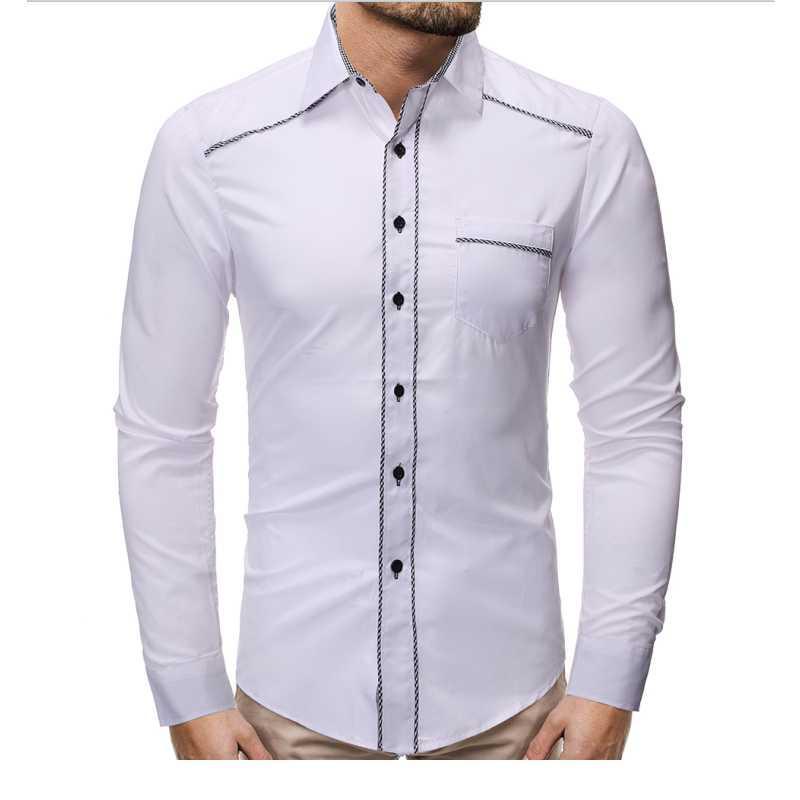 긴 소매 셔츠 단단한 슬림 남자 사회 레저 비즈니스 화이트와 블랙 드레스 캐주얼 셔츠