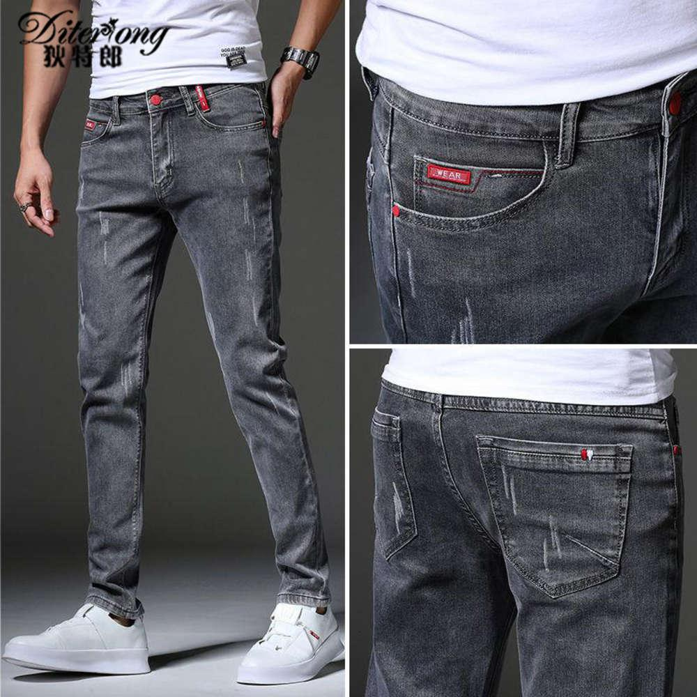 Männer Jeans Sommer Slim Stretch atmungsaktive Trend Vielseitige lässige Jugendhose 9G0J