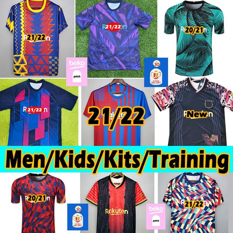 Barcelona Новый 21/22 Футбол футбол Barca Messi Ansu Fati Griezmann dembélé f.de jong alba 2020 2021 для взрослых детские комплекты тренировочные футболки футбольный джерси