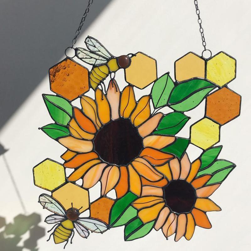 Dekorative Objekte Figuren Bienen Bienenstock / Blüten Befestigungen Suncatcher mit Kette Sun-Proof Mosaik Hängende Kunst Dekoration Ornament Geschenk für