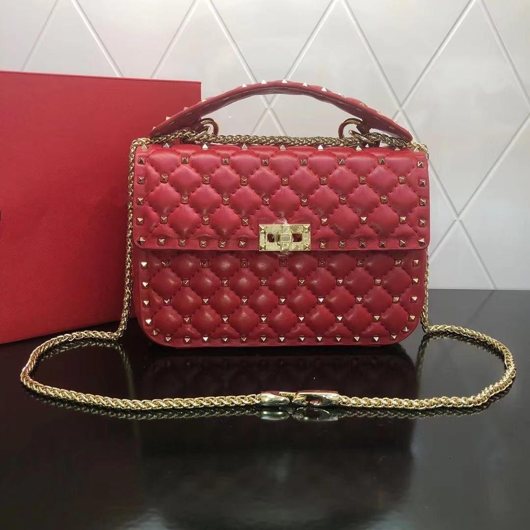 고품질 지갑 유명한 핸드백 핸드백 여성 리벳 크로스 바디 가방 패션 레트로 진짜 가죽 가방