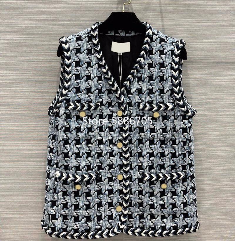 Chalecos de mujer Mujeres de gama alta 2021 Primavera Houndstooth Tweed Tweed sin mangas Chaquetas con cuello en V Un solo pecho Twist Weave Waistcoat S316