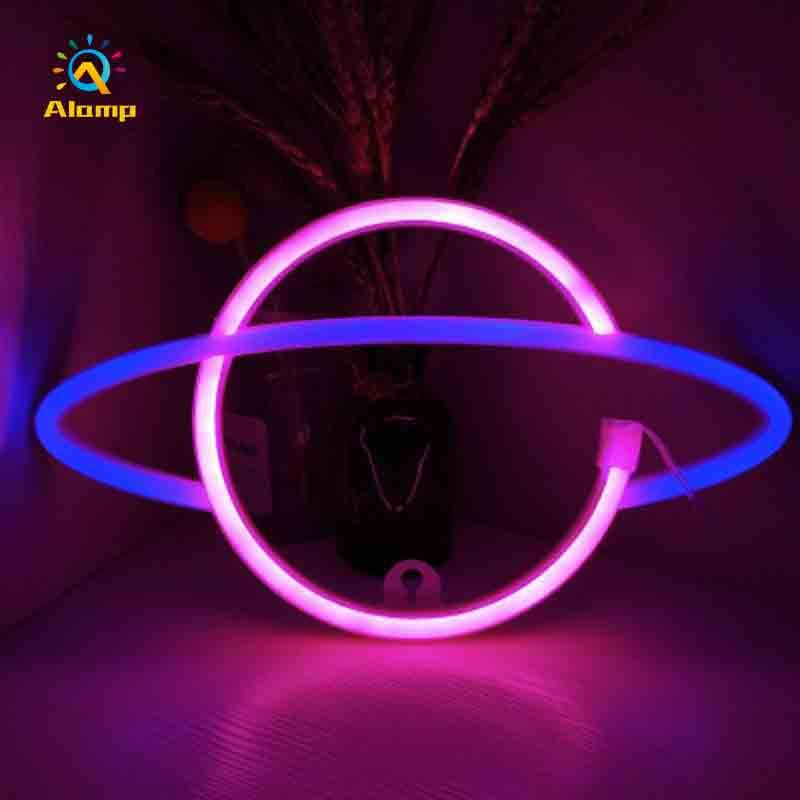 LED Planet Neon Sign USB Strip Holiday Lighting Christmas Home Room Party Decorative Wall Night Lights for Kid Gift