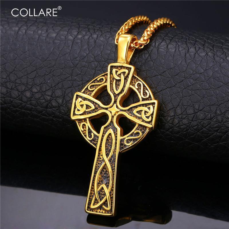 Collare Viking Çapraz Kolye Üçlü Boynuz ODIN Takı Paslanmaz Çelik Altın Renk Hıristiyan Kelt Düğüm Kolye P050 Zincirleri