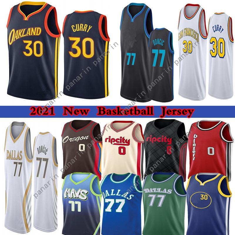 2021 Jerseys Luka Stephen 77 Doncic 30 Curry Damian 0 Lillard Basketball Jersey 33 Wiseman Carmelo 00 Anthony Mens