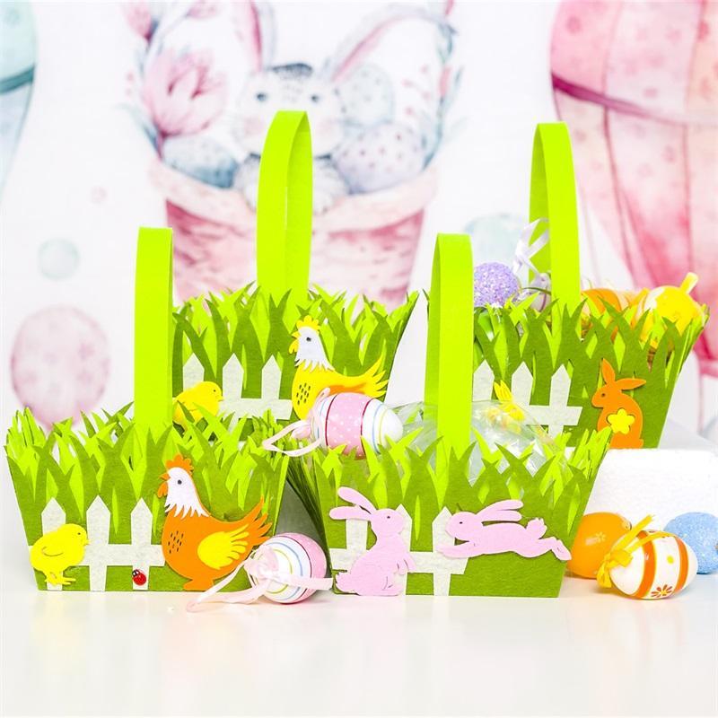 Cesta de Pascua Cock Conejito Impresión Coloful Huevo Dibujos animados Conejo No tejido Bolsa de asas Niños Regalos Egg Bucket Candy Basket Backbag 828 V2