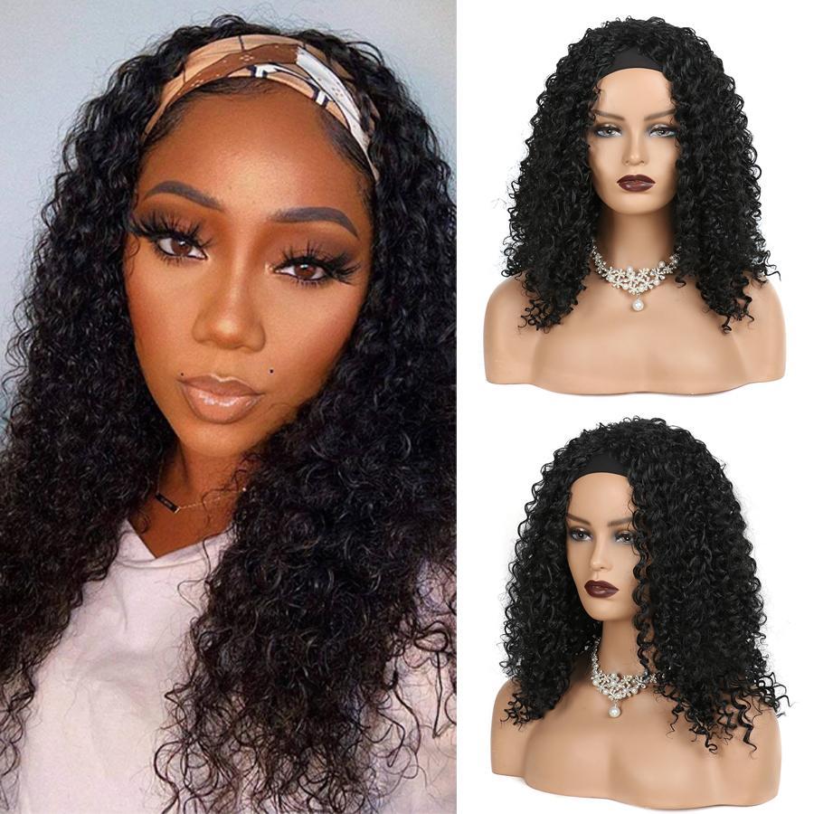 Naturel Afro Bandeau Curly Perruques de cheveux Synthétiques pour femmes Black Wank Wave WIG Bandeau