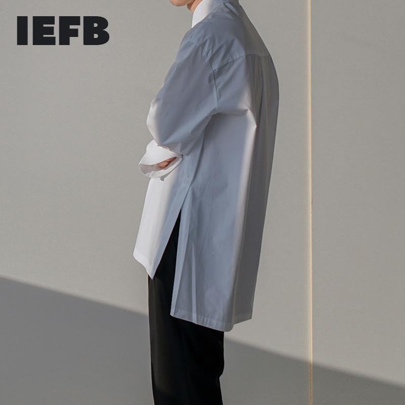 봄 남자 긴 소매 사이드 스플릿 화이트 셔츠 2021 패션 느슨한 캐주얼 한국어 트렌드 블라우스 망 단일 유방 9Y5456 셔츠
