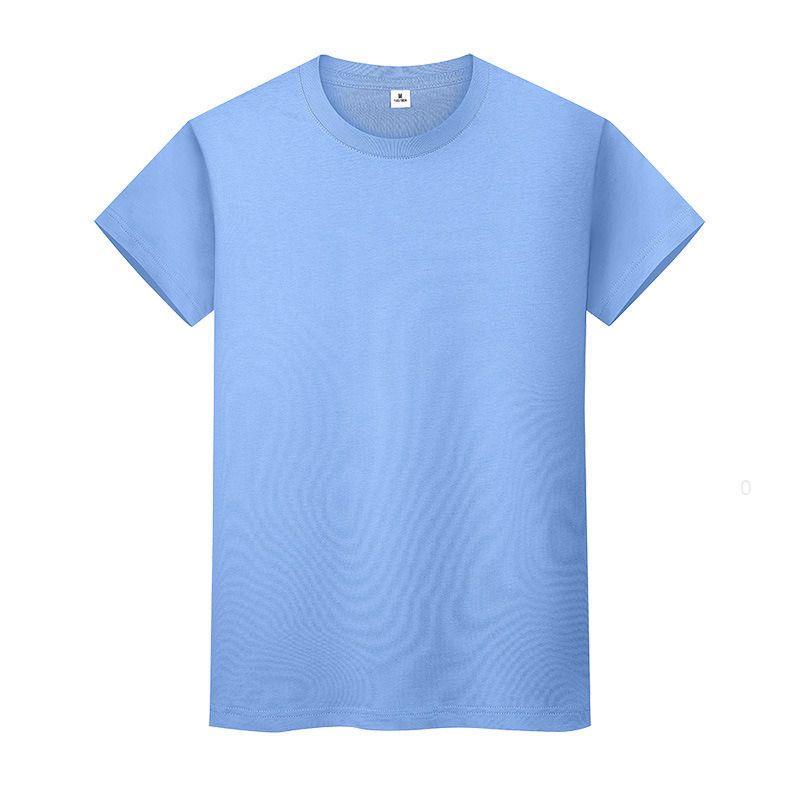 새로운 둥근 목 솔리드 컬러 티셔츠 여름 코튼 바닥 셔츠 반팔 망 및 여성 반팔이 BCFLZN
