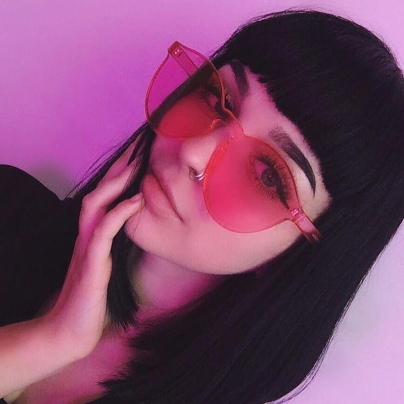 Moda Sevimli Seksi Retro Çerçevesiz Güneş Gözlüğü Tasarımcı Güneş Gözlükleri Hue Şeker Renk Gözlük Aynası UV400