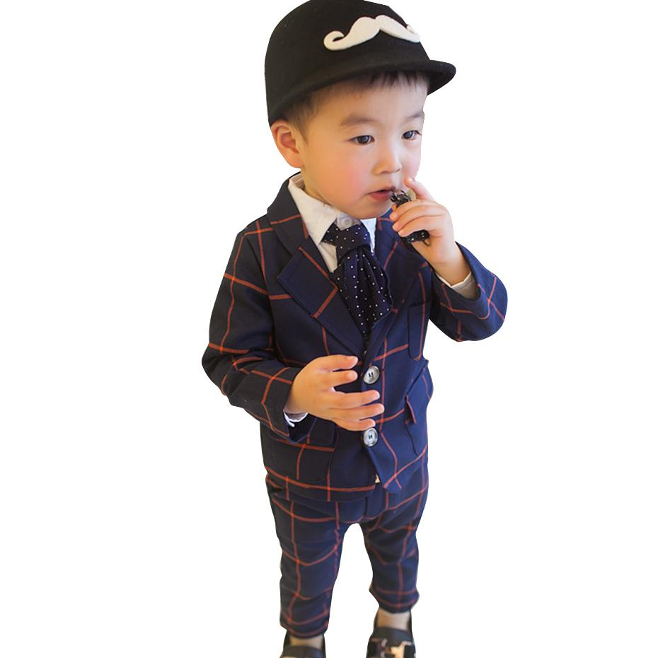 Toddler Baby Boy Clothes Plaid Pattern Boy Girl Clothing Jacket + Pants Kids Clothes Girls Spring Autumn Kids Clothing 210412
