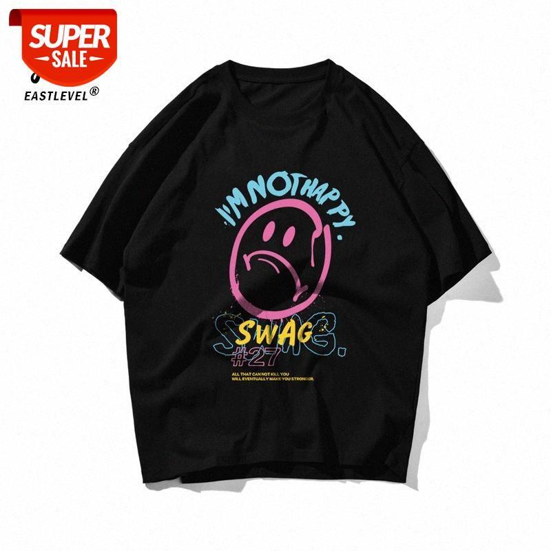 Guochao High Street Smiley Imprimir T-shirt Homens de Algodão Puro Loose Off Ombro Oversize Maré selvagem Marca Casal Manga Curta # Sa3u