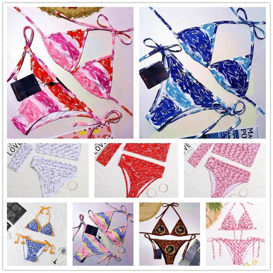 Mode femme de maillot de bain pour femmes de maillot de bain 2 pièces multicolores Multicolors Temps d'été Plage Baignade Cuisson Sunwear Sexy Pantalon S-XL