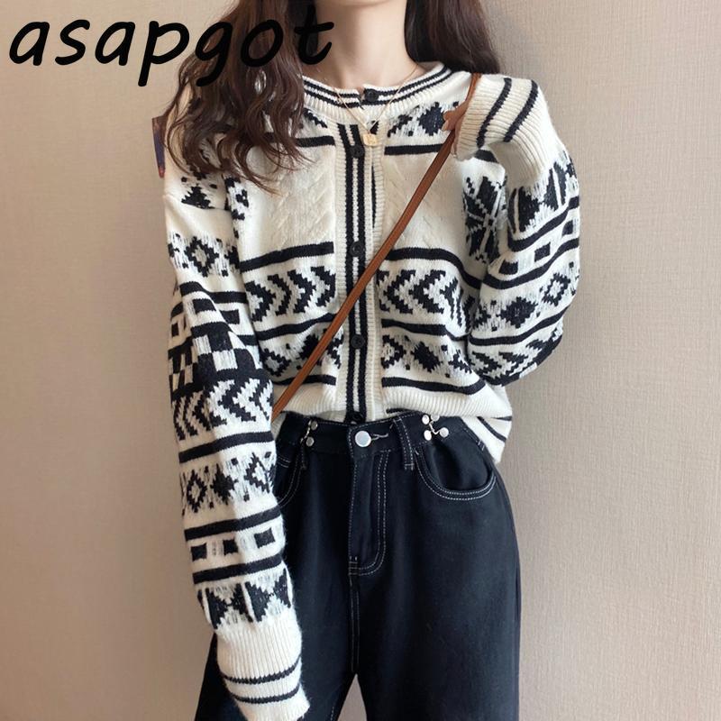카디건 일본 스타일 가을 야생 outwear 느슨한 O 넥 기하학적 스웨터 여성 캐주얼 빈티지 니트 코트 패션 세련된 여성의 니트 티