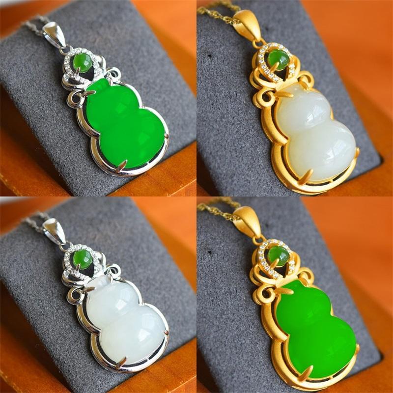 Naturel Green Hetian Jade Jade Gourd Pendentif En Argent Collier Chinois Sculpté Charme Bijoux Mode Ambule pour femmes Cadeaux chanceux 1290 Q2