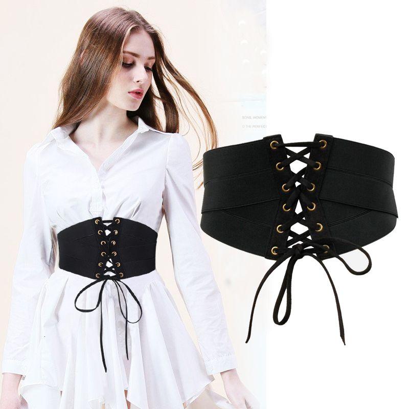 Belts Bandagem ocidental preta com zper design pano feminino camiseta social cala feminina cinto largo WP40