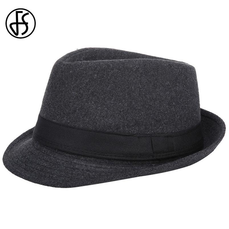 FS Mens Fedoras Preto Panamá Forma Chapéu Imita Lã Gangster Masculino Trilby Cap Festa Casual Brim Inglaterra Estilo Jazz Chapéus 210608