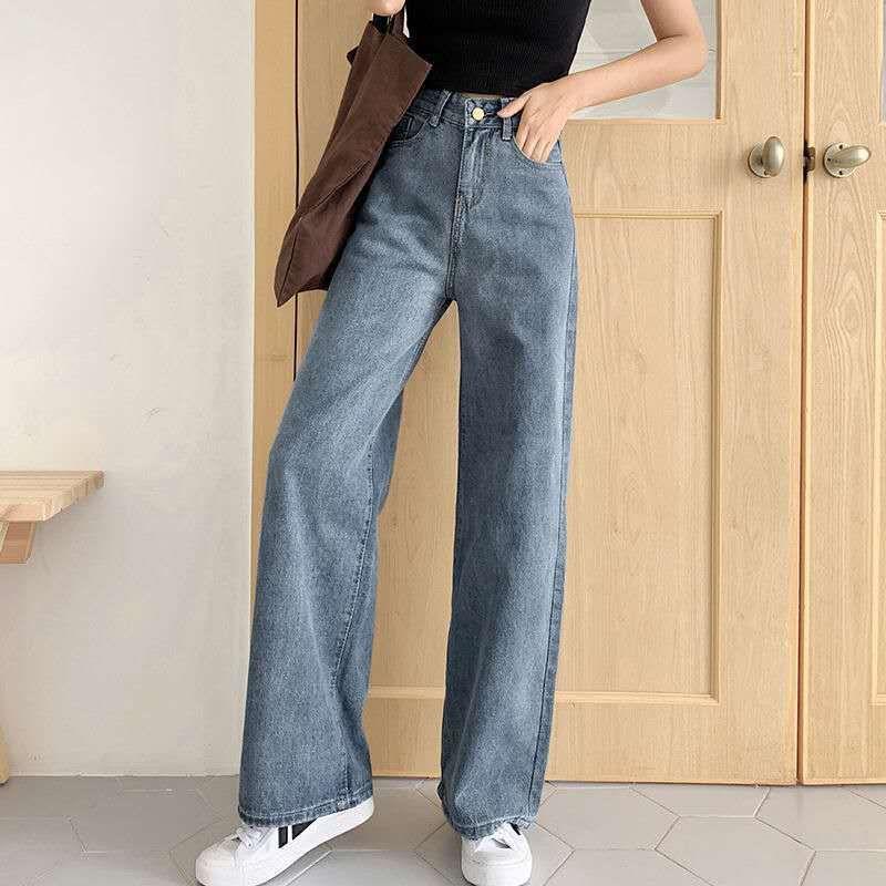Джинсы Винтаж для женщин вспышки натягивают высокую тисную джинсовые длинные брюки широкие ноги случайные брюки дна парень