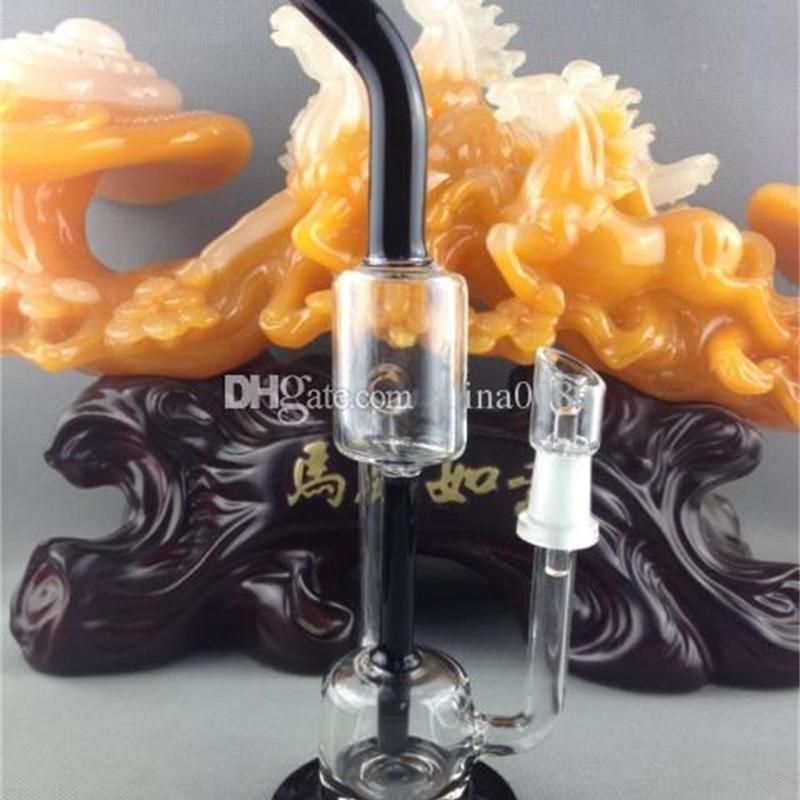 """Narguils BONGLE BONG BONG 11 """"RECYCLER Huile Rigs 14mm Noir Nouveau Design Tuyau d'eau de verre à double chambre avec 14 dôme à ongles"""