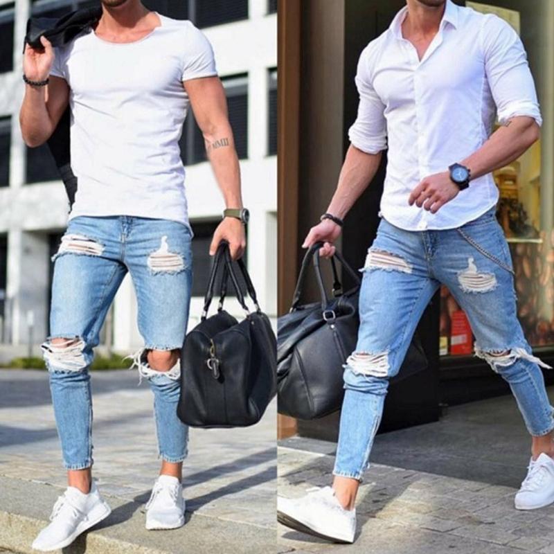 Denim pantalón de los hombres el estiramiento destruido diseño rasgado de la moda Pantalones de tobillo con cremallera pantalones vaqueros flacos para los hombres más planos Jeans 210330