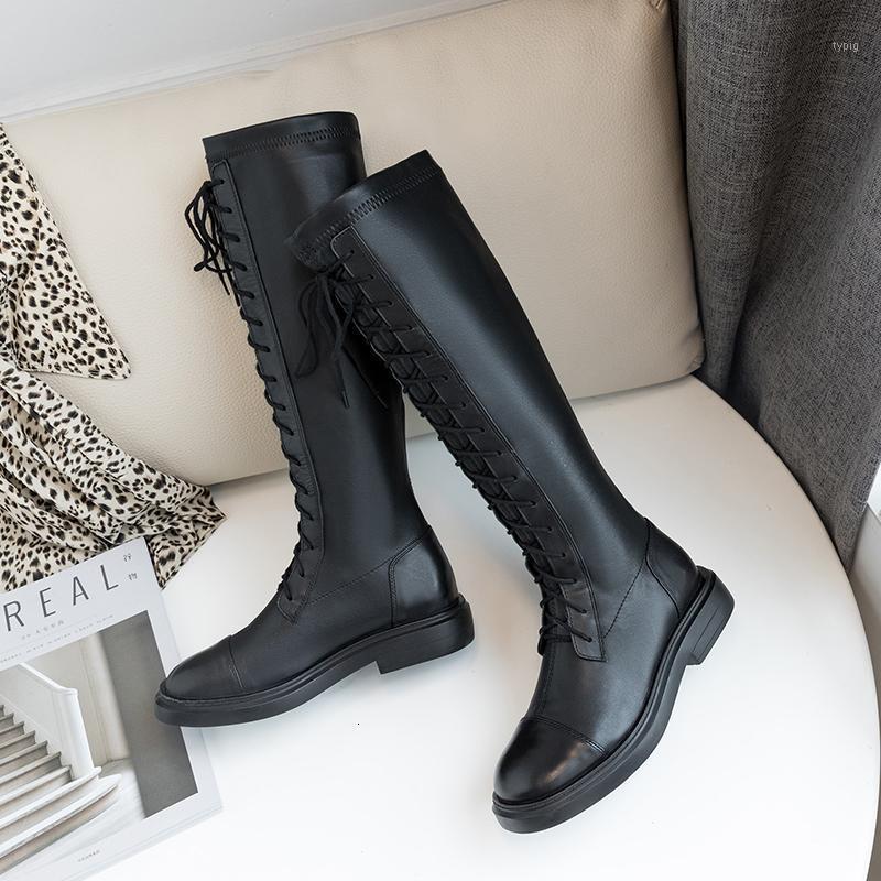 Çizmeler Stylesowner Kış Siyah Moda Kadınlar Diz-Yüksek İnek Deri Düz Uzun El Yapımı Deri1 3NFM