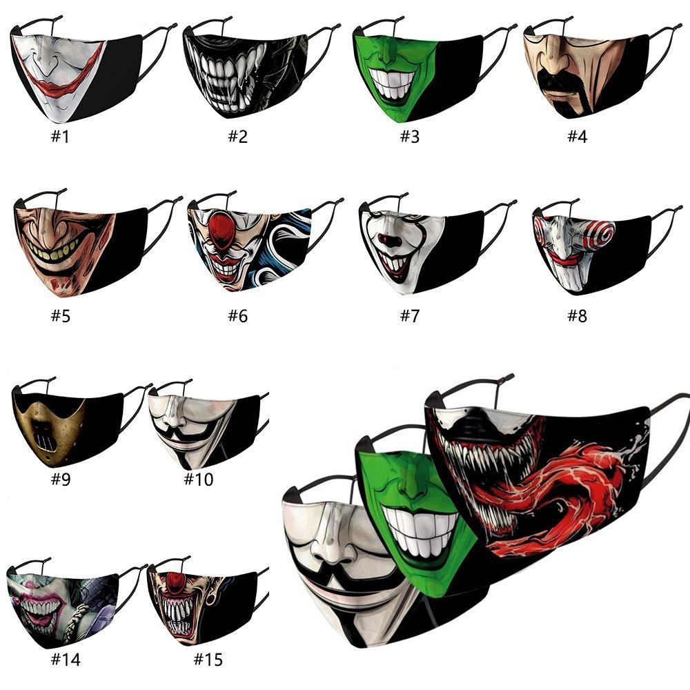 Adulto divertente pagliaccio stampa viso maschere per la bocca pagliaccio per la bocca riutilizzabile protezione polvere lavabile maschere 18 colori all'ingrosso