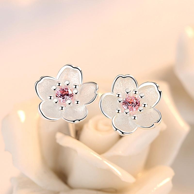925 Jewelry Sterling Sier Cherry Blossom Pink Zircon Simple and Popular Earrings for Women