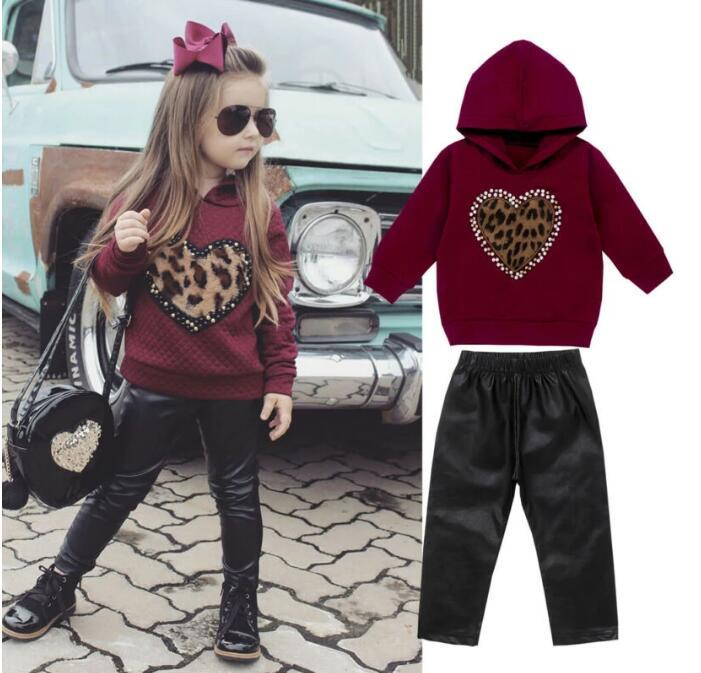 Toddler Baby Girl Clothing Sets Hooded Wing Tops + Leather Long Pants Outfit Tracksuit
