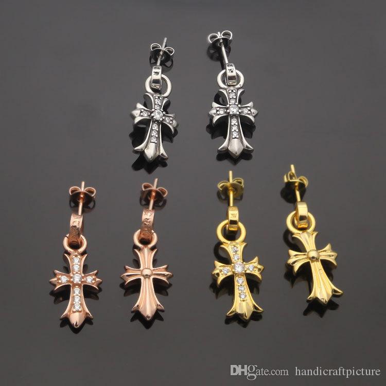 الفاخرة مصمم مجوهرات النساء حلق الكلاسيكية الصليب الماس القرط الرجال الصليب كامل الماس حلق هدية مجوهرات