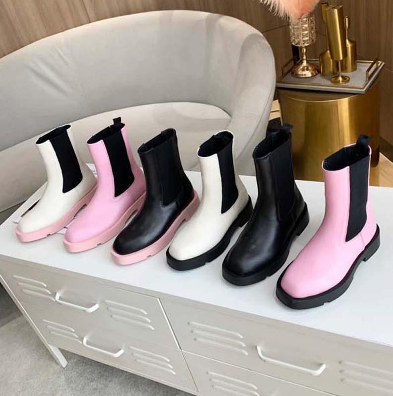 2021 Venda Bem Moda Mulheres Metade Botas De Couro De Couro De Algodão Tecido Letras Rodada Cabeça Middle Boot Para Botas de Cowboy Home011 03