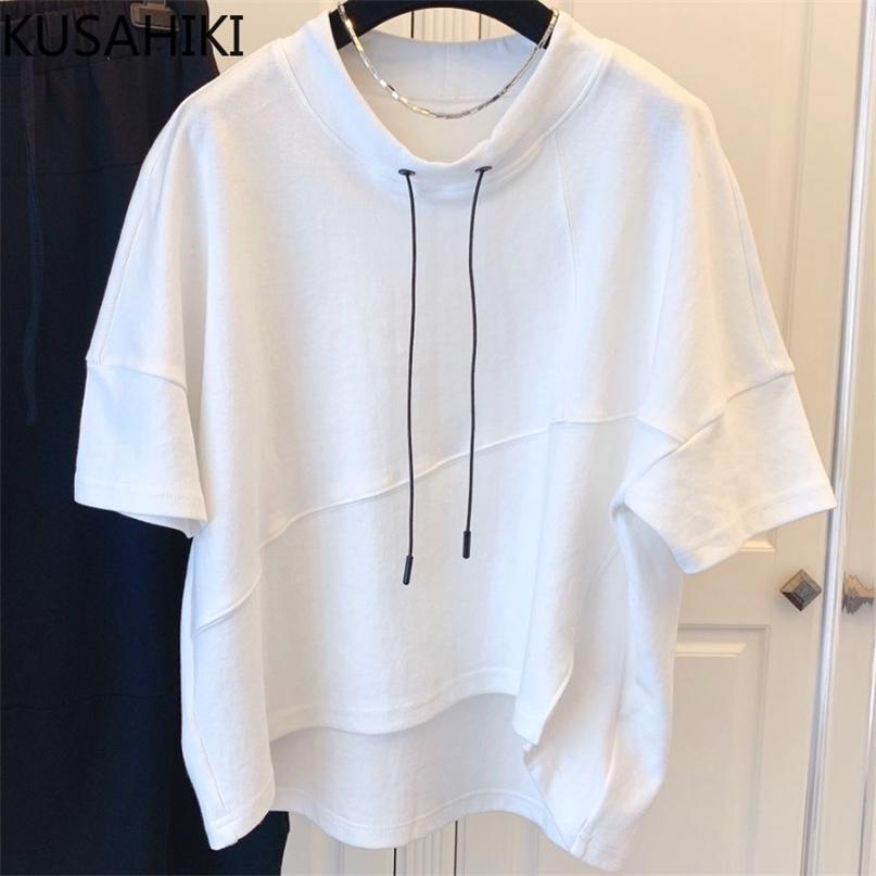 Kausal Split Grafik T-Shirt Koreanische Kordelzug Oansatz Kurzarm Frau T-shirts Sommer Feste Tops Hemd 6H575 210603