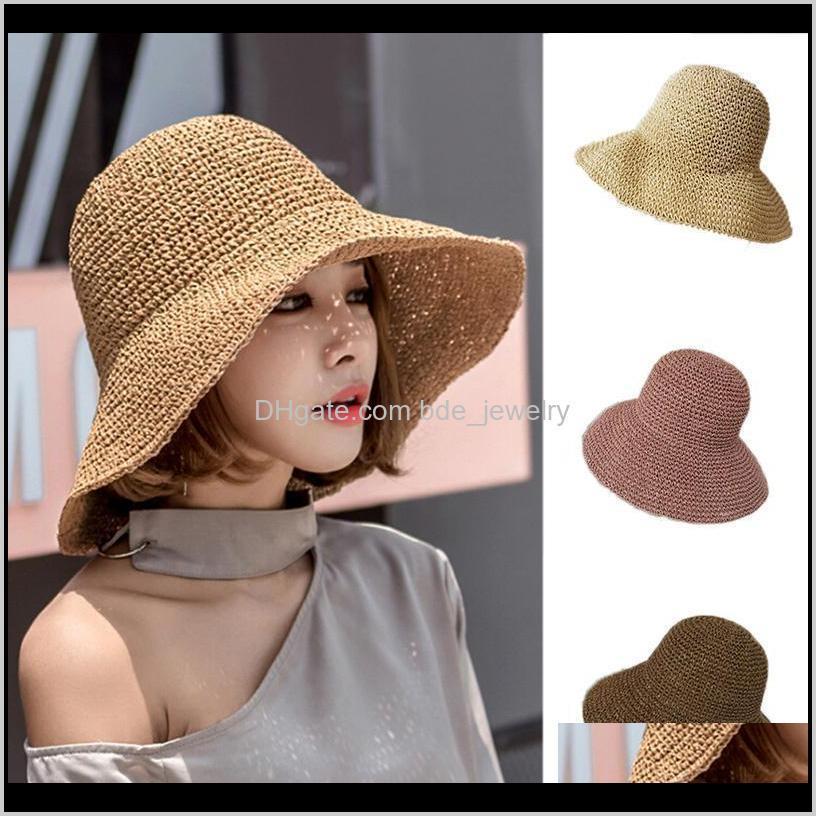 Sombreros gorras sombreros, bufandas guantes de moda Aessories1pc Floppy Foldable Damas Mujeres St Beach Sun Verano Anti UV Sombrero Beige Ancho Ancho Drop Drop Deliv