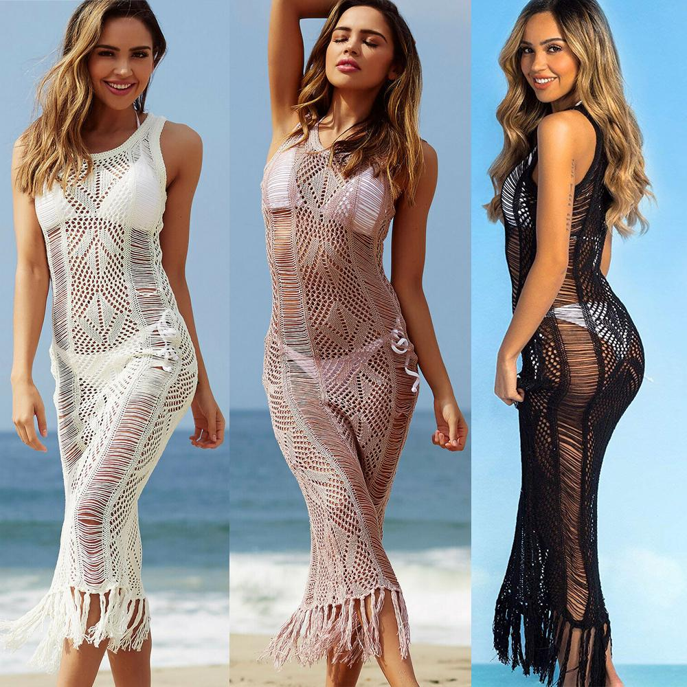 Dress da donna in pizzo vestito estate spiaggia abbigliamento da donna all'uncinetto nappa lunga maxi abiti casual solido sottile anti-solare prendisole outwear