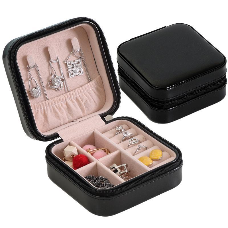 مجوهرات منظم عرض السفر حالة التعبئة والتغليف مربعات المحمولة مربع سستة الجلود تخزين