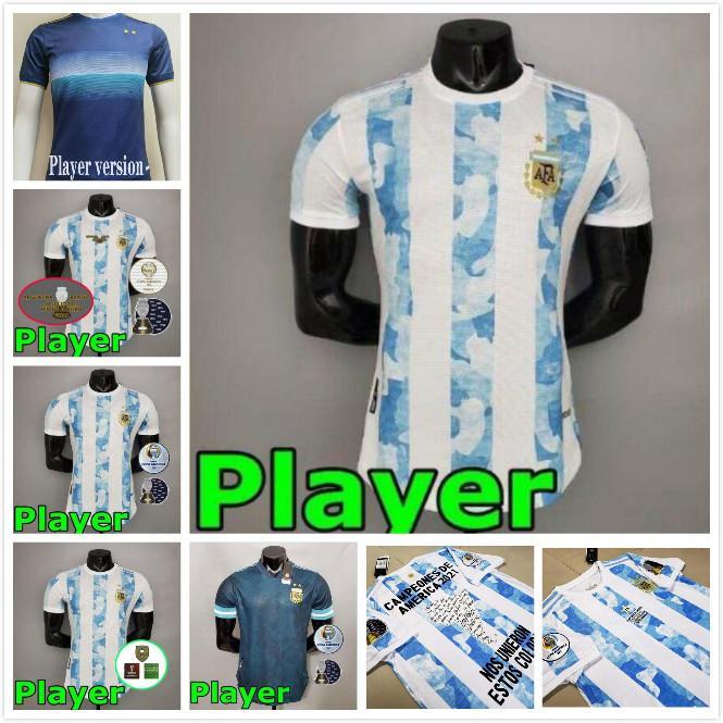 Arjantin Futbol Formaları Oyuncu Sürüm 2021 COPA Amerika Messi DyBala Aguero Futbol Gömlek Setleri Üniformalar 20 21