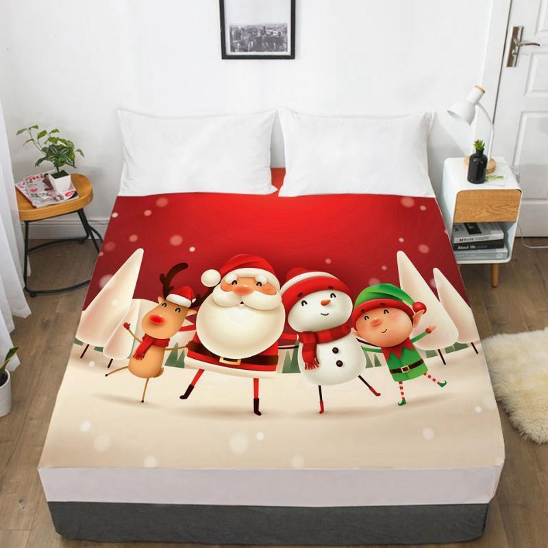 Folhas de lençóis 3D camada de cama com elástico capa de colchão 160x200 cartoon roupas para crianças bebê crianças adorável Papai Noel