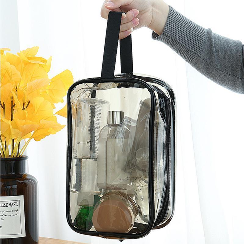 Taşınabilir Temizle Makyaj Çantası Fermuar Su Geçirmez Kozmetik Şeffaf Seyahat Depolama Taşıma Kılıfı PVC Fermuarlı Tuvalet Kozmetik Çanta Kılıfları