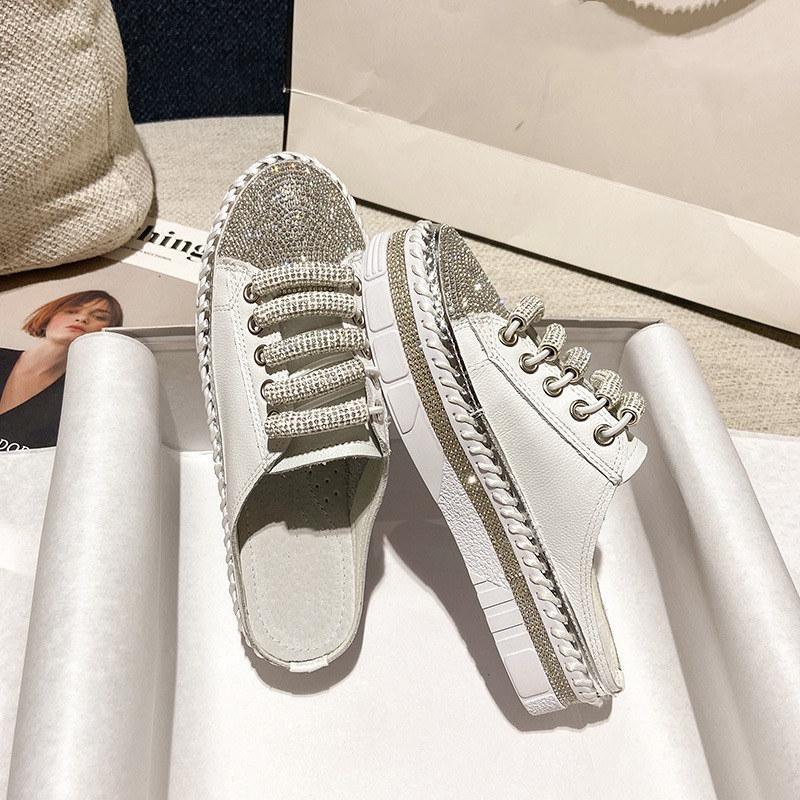 2021 جديد الماس بطانة أحذية بيضاء صغيرة الصيف تنفس أزياء جلدية المياه الماس الأزياء عارضة الأحذية الحجم 35-42