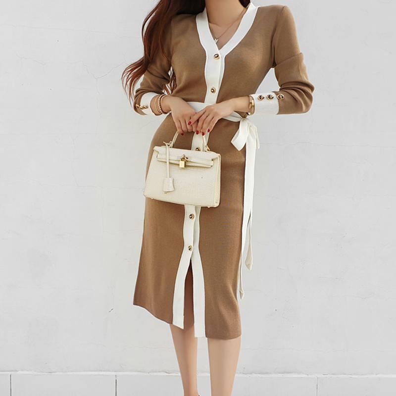 Günlük Elbiseler Hayblst Marka Kadın Elbise Kadın Giyim Için 2021 Kazak Sonbahar Uzun Kollu Kore Stil Artı Boyutu Örme Giysileri