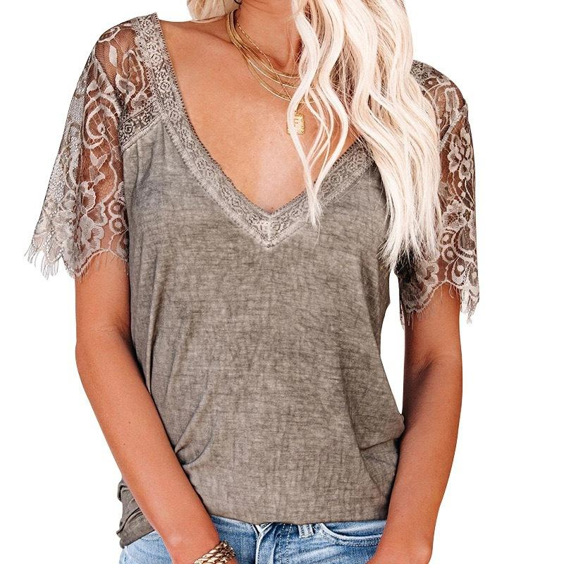 2021 Summer New Patchwork T-shirt in pizzo T-shirt manica corta Top da donna Streetwear Streetwear V-Collo Casual Pullover Pull Jersey Mujer Femme