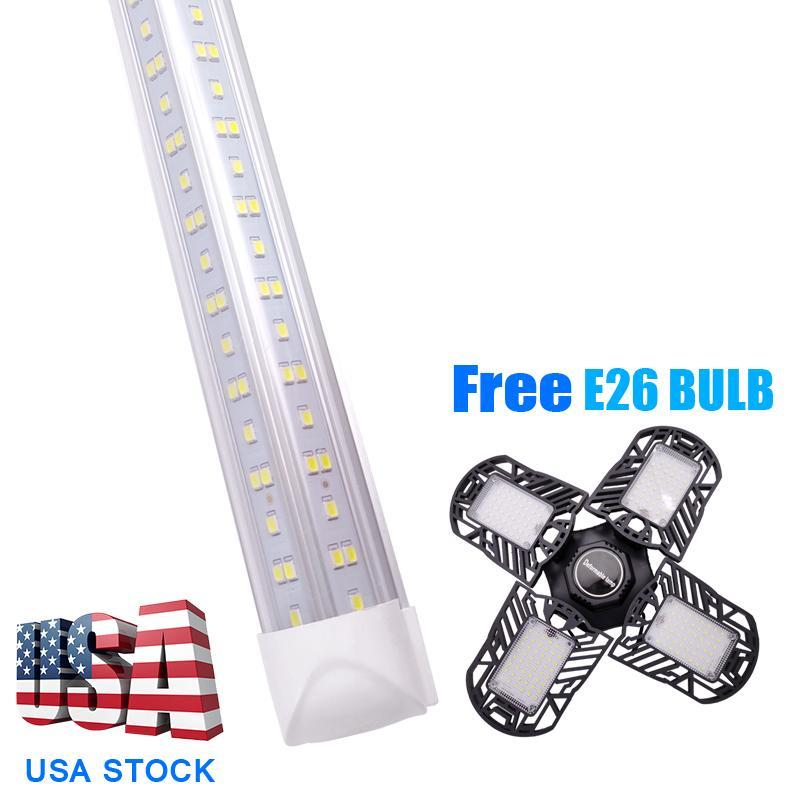 8ft Tube Light 100W 144W Integrate V Shaped T8 LED Tubes Lamp 100+60W garage bulb free