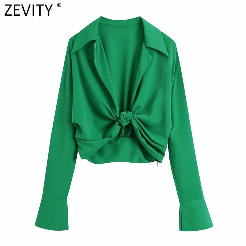 Zevity Donne Fashion Turn Down Collar annodato colore verde corto smock blusa femminile manica lunga slim slim shirt chic crop top ls9465
